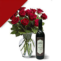 12 Roses N Wine Combo: Valentine's Day Gifts to Australia