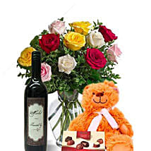 Mixed Roses Combo With Wine: Flower Bouquets to Australia