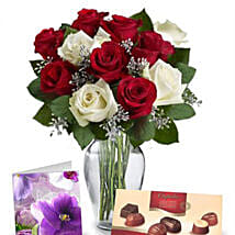 Red N White Roses With Chocolates: Send Birthday Gifts to Australia