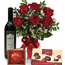 Roses Wine N Chocolate Combo: Send Flowers to Australia