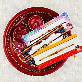 Three Rakhi With Traditional Thali: Rakhi Pooja Thali Australia