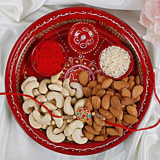 Premium Navrang Rakhi with Puja thali Dry fruits Rakhi Hamper: Send Rakhi to Belgium