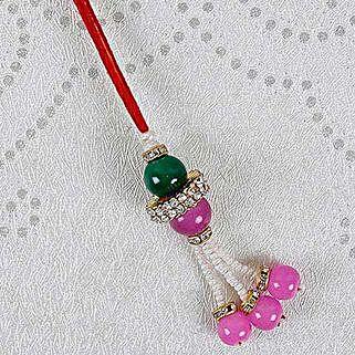 Attractive Pink Lumba Rakhi: Send Rakhi to Brazil