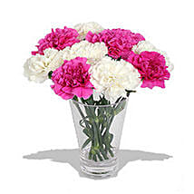 10 Pink n White Carnations in Vase: Anniversary Gifts in Montreal