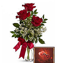 3 Red Roses With Greeting Card: Send Birthday Flowers to Canada