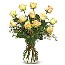 A Dozen Cream Roses-CND: Easter Gifts to Canada