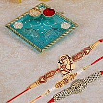 Blue Pooja Thali With Set Of 3 Rakhi: Send Rakhi for Kids to Canada