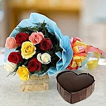 Heart Cake With Roses: Send Valentine Gifts to Canada