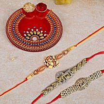 Ornamented Pooja Thali: Kids Rakhi to Canada