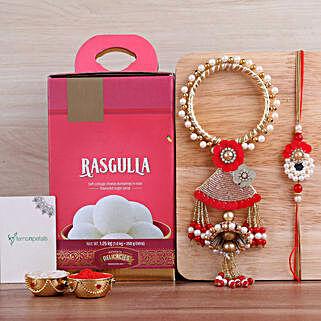 Pearl Lumba Rakhi Set N Rasgulla: Rakhi Delivery in Canada