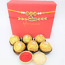 Traditional Rakhis And Rocher 6 Pieces Combo: