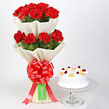 Two Layer Carnations Bouquet With Pineapple Cake: Valentine's Day Flower Delivery in Canada