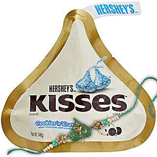 Rakhi And Hersheys Kisses Choco Combo: Send Rakhi to China