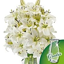10 white lilies in a bunch: Lilies to Germany