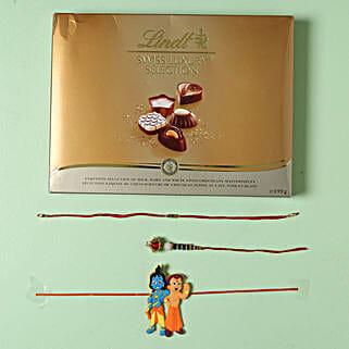 Family Rakhi set with Lindt Finest Swiss Chocolates: Rakhi to Frankfurt