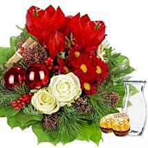 Flower Bouquet Weihnachten with vase and 2 Ferrero Rocher: Christmas Gift Delivery Germany