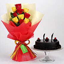 Red Yellow Roses With Truffle Cake: Gifts to Indonesia