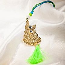 Attractive Metallic Peacock Lumba Rakhi: Rakhi to Korea
