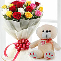 Mix Flowers And Teddy Combo: Birthday Gift Delivery in Kuwait