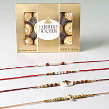 Set Of 4 Rakhis And Rocher Combo: Rakhi With Chocolates to Kuwait