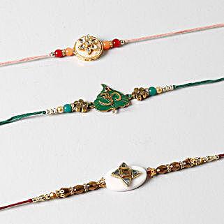 Spiritual And Designer Rakhi Set Of 3: Rakhi to Brother in Kuwait