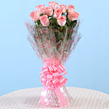 10 Charming Pink Roses Bouquet: Send Girlfriend Day Roses