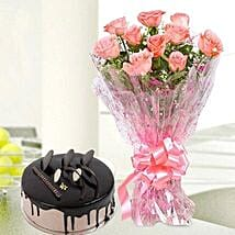 10 Pink Roses And Chocolate Cake Combo: Flowers & Cakes for Friendship Day