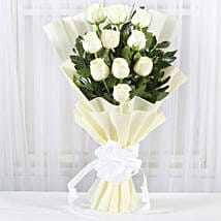 Pristine White Roses Bunch: White Roses