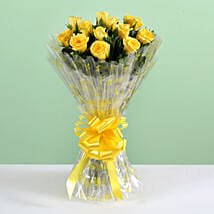 12 Delightful Yellow Roses Bouquet: Send Flower Bouquets for Birthday