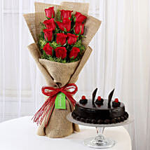 12 Layered Red Roses Bouquet & Truffle Cake: