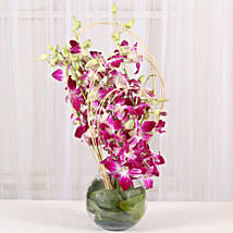 Purple Orchids Vase Arrangement: Orchids