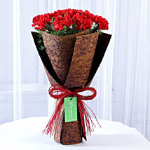12 Red Carnations in Brown Handmade Paper: Carnations