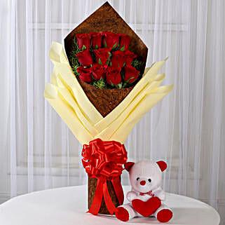 12 Red Roses & Teddy Bear Combo: Flowers & Teddy Bears for Birthday