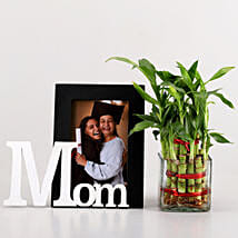 2 Layer Bamboo & Mom Photo Frame Combo: Personalised Gifts Combos