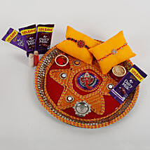 2 Rakhis And Cadbury Chocolates Combo: Send Rakhi Pooja Thali to Gurgaon