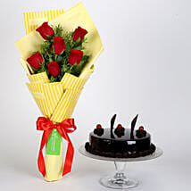 6 Red Roses Bouquet & Truffle Cake: Flowers N Cakes - anniversary
