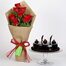 8 Red Roses Bouquet & Truffle Cake: Valentines Day Flowers & Cakes