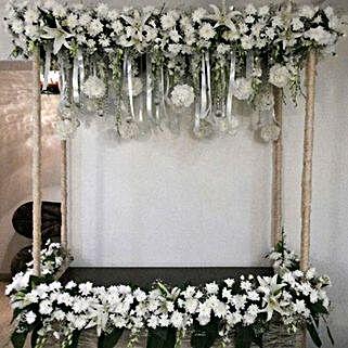 All White Sparkling Flower Decoration: Temple Flower Decorations