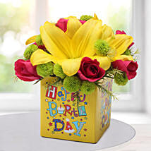 Asiatic Lilies Arrangement: Birthday Gifts for Friend