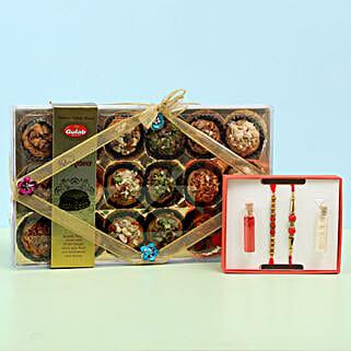 Baklava in Crystal Box & Set of 2 Rakhis: Rakhi with Sweets