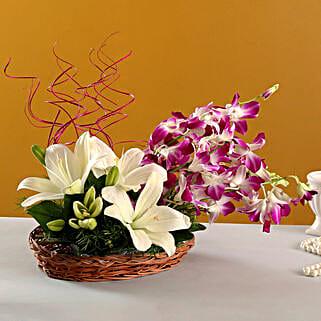 Lilies And Orchids Basket Arrangement: Send Orchids