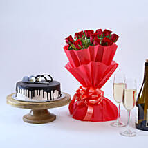 Beautiful Red Rose Hamper: 1St Anniversary Cakes