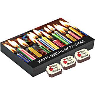 Birthday Gift Box- 12 Personalised Chocolates: Personalised Chocolates for Birthday