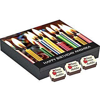 Birthday Gift Box- 9 Personalised Chocolates: Personalised Chocolates for Wife