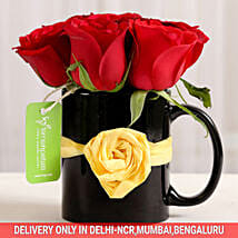 Black Mug of Red Roses: Send Flowers For Valentines Day