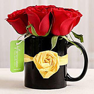 Black Mug of Red Roses: Send Flowers