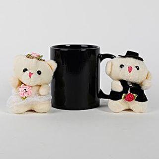Black Mug & Teddy Bears Combo: Soft Toys Gifts