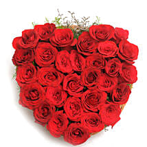 Heart Shaped Red Rose Arrangement: Rose Day Gifts