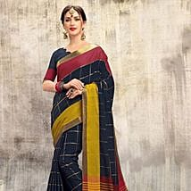 Blue Cotton N Silk Blended Saree: Saree Gifts