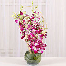 Blue Orchids Vase Arrangement: Send Gifts to Hyderabad